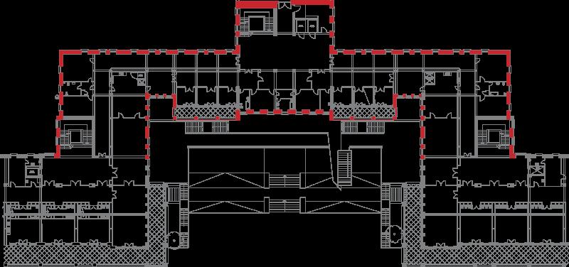 Plànol Planta 1 Central, Hospital del Tòrax