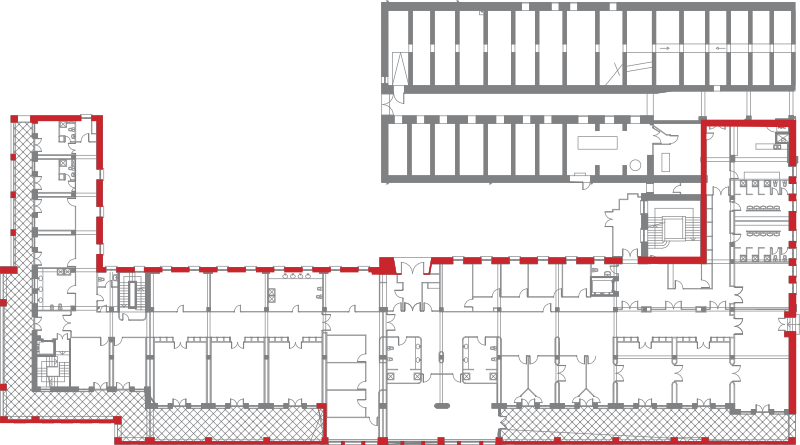 Plànol de la Planta -2 Oest, Hospital del Tòrax