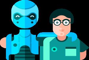 Imatge dibuix d'un noi i un robot junts